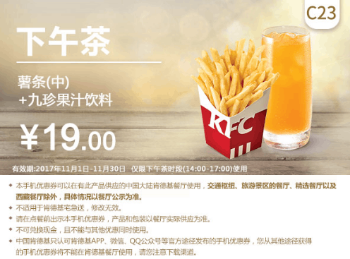 C23下午茶薯条(中)+九珍果汁饮料