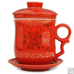 金镶玉陶瓷茶杯迎喜红四件杯