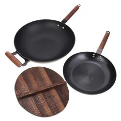 艾美仕煎锅两件套32cm真不锈铸铁炒锅+26cm精铁不粘煎锅