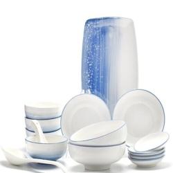 佳佰 天空蓝手绘陶瓷饭碗餐盘汤盘平盘鱼盘18头餐具套装