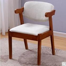 一米色彩白色靠背软包实木椅子